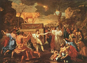 Golden Calf: A biblical symbol concerning the worship at the altars of greed in capitalism.